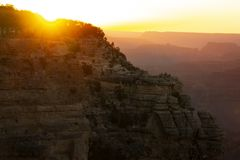 Por do sol no parque nacional de Grand Canyon no verão imagem de stock royalty free