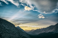 Por do sol no parque nacional dos reis Garganta Imagem de Stock