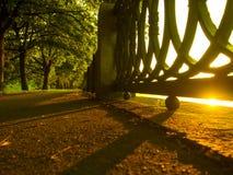 por do sol no passeio perto da cidade de Moscou Imagem de Stock