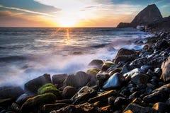 Por do sol no ponto Mugu Fotografia de Stock
