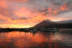 Por do sol no porto Fotografia de Stock Royalty Free