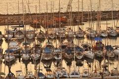 Por do sol no porto de Telavive, Israel Fotografia de Stock Royalty Free