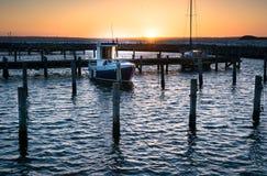 Por do sol no porto - Dinamarca Fotografia de Stock