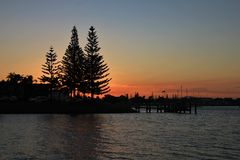 Por do sol no porto Macquarie Foto de Stock Royalty Free