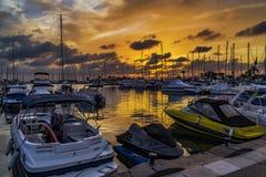Por do sol no porto ? n de Mazarr??, M?rcia, Cartagena, Espanha fotografia de stock royalty free