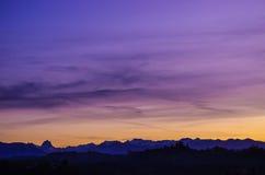 Por do sol no Pyrénées Imagens de Stock