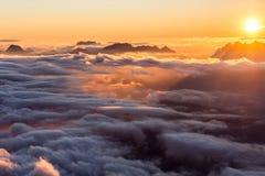 Por do sol no refúgio de Tete Rouse 2 Imagens de Stock