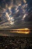 Por do sol no reservatório artificial Geeste, Alemanha Imagem de Stock