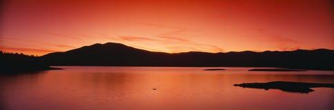 Por do sol no reservatório de Ashokan Imagens de Stock Royalty Free