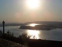 Por do sol no Rio Columbia, Oregon Fotografia de Stock Royalty Free