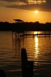 Por do sol no rio de Belait Imagem de Stock