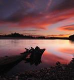 Por do sol no rio de Manawatu fotos de stock royalty free