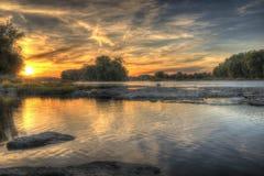 Por do sol no rio de Maumee Imagem de Stock