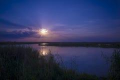 Por do sol no rio de Sait Johns Fotografia de Stock