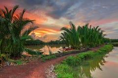 Por do sol no rio Tallo Makassar fotografia de stock