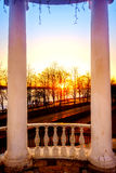 Por do sol no Rio Volga Fotos de Stock