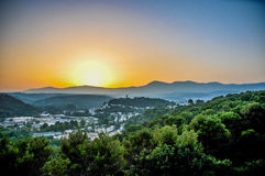 Por do sol no Riviera francês imagem de stock royalty free