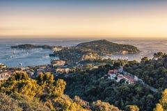 Por do sol no Riviera franc?s foto de stock royalty free