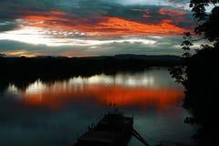 Por do sol no São Francisco River em Pirapora, Minas Gerais, Brasil fotos de stock royalty free