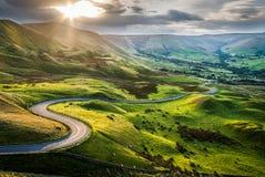 Por do sol no Tor de Mam, com uma vista para baixo para esperar o vale Fotografia de Stock Royalty Free