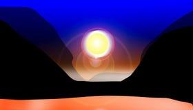 Por do sol no vale ilustração do vetor