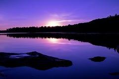 Por do sol nos lagos Kawartha foto de stock