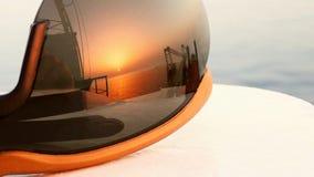 Por do sol nos vidros táticos Foto de Stock Royalty Free