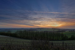 Por do sol nos Wolds de Lincolnshire, Reino Unido do inverno Fotos de Stock Royalty Free