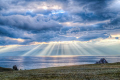 Por do sol, o Lago Baikal Imagens de Stock