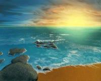 Por do sol oceânico ilustração stock