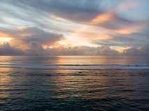 Por do sol do oceano de Mauritius Indian fotografia de stock royalty free