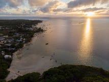Por do sol do oceano de Mauritius Indian imagens de stock royalty free
