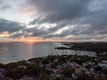 Por do sol do oceano de Mauritius Indian imagens de stock