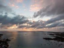 Por do sol do oceano de Mauritius Indian fotografia de stock