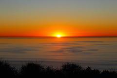 Por do sol, oceano, San Diego, Torrey Pines State Park Imagem de Stock
