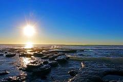Por do sol, oceano, San Diego, Torrey Pines State Park Fotos de Stock