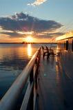 Por do sol Ontário da casa flutuante, Canadá Foto de Stock