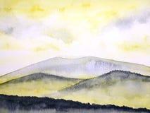 Por do sol ou nascer do sol da paisagem da pintura da aquarela na névoa da montanha ilustração do vetor