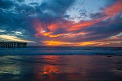 Por do sol pacífico da praia Foto de Stock Royalty Free
