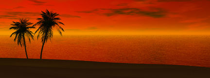 Por do sol panorâmico ilustração do vetor