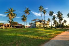 Por do sol do panorama da foto de Batam maravilhoso Indonésia imagem de stock