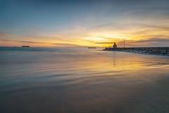 Por do sol do panorama da foto do padang maravilhoso Indonésia fotografia de stock royalty free