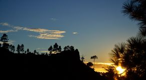 Por do sol, parque natural de Pilancones Imagens de Stock Royalty Free