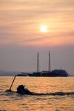 Por do sol pattaya de Tailândia Imagens de Stock
