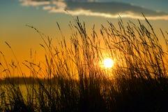 Por do sol pelo lago Fotografia de Stock