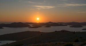 Por do sol perfeito na Croácia Imagens de Stock Royalty Free