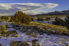 Por do sol Pinon de Taos nanômetro fotografia de stock