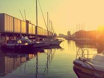 Por do sol pitoresco em Genoa, Itália fotografia de stock