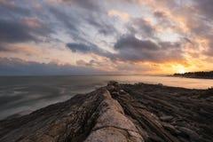 Por do sol do ponto de Pemaquid em Maine fotos de stock royalty free