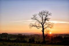 Por do sol proeminente no lado do país Fotografia de Stock